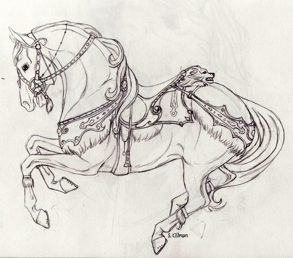 Sketch Reference Horse Coloring Pages Horse Coloring Carosel Horse