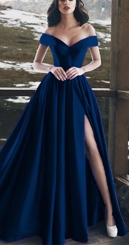 Elegant V-neck Off The Shoulder Long Satin Prom Dresses