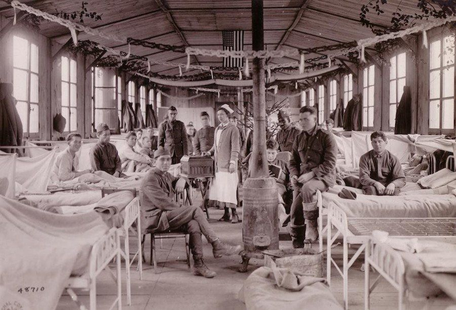 A festive ward at Camp Hospital №33, in Brest, Finistere