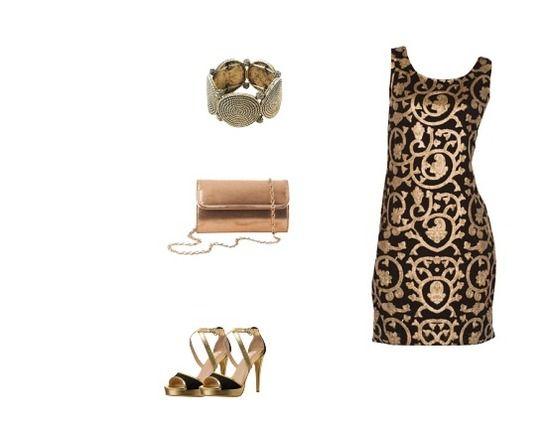 robe noire et dorée parfait pour une fete