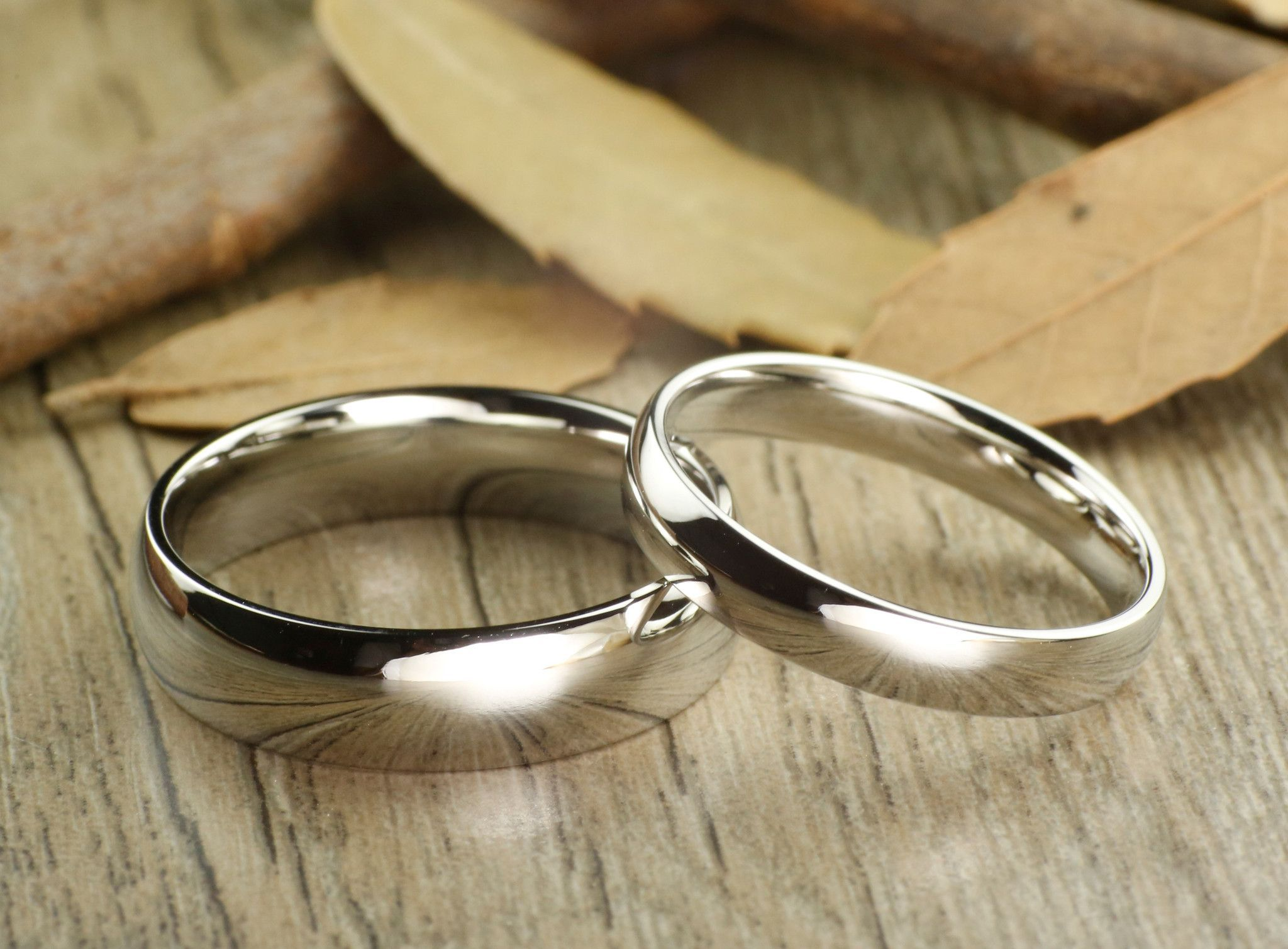 Handmade Dome Plain Matching Wedding Bands, Couple Rings ...