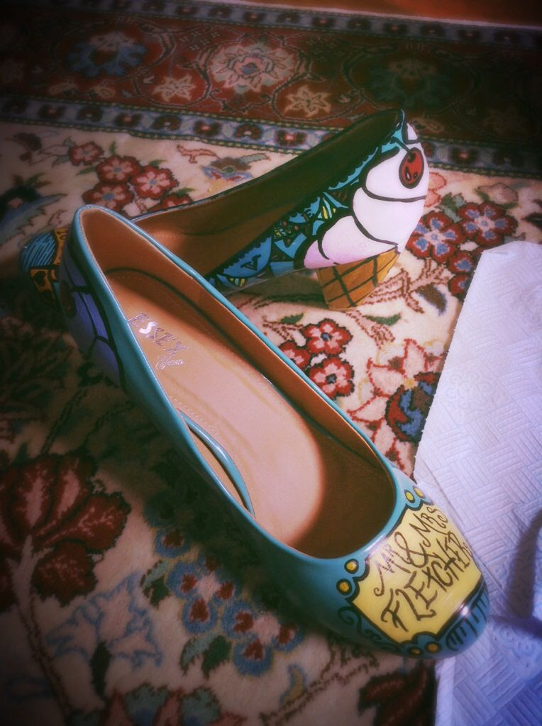 Hand painted wedding shoes. By lauren jansons