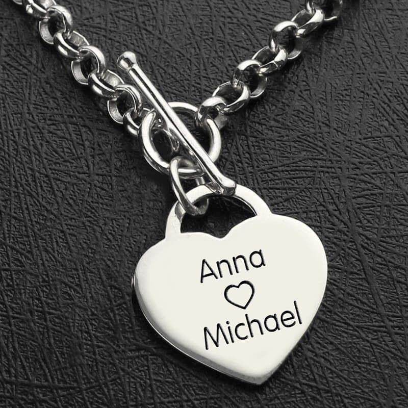 1b0c505afeaa9 Engraved Name Bracelet Personalized Heart Nameplate - 925 Sterling ...