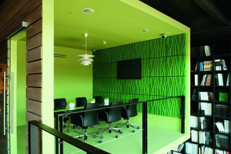 Amazing office interior displaying dynamic color theme fantastic meeting room inside the office showroom for dk with green wall and the gre