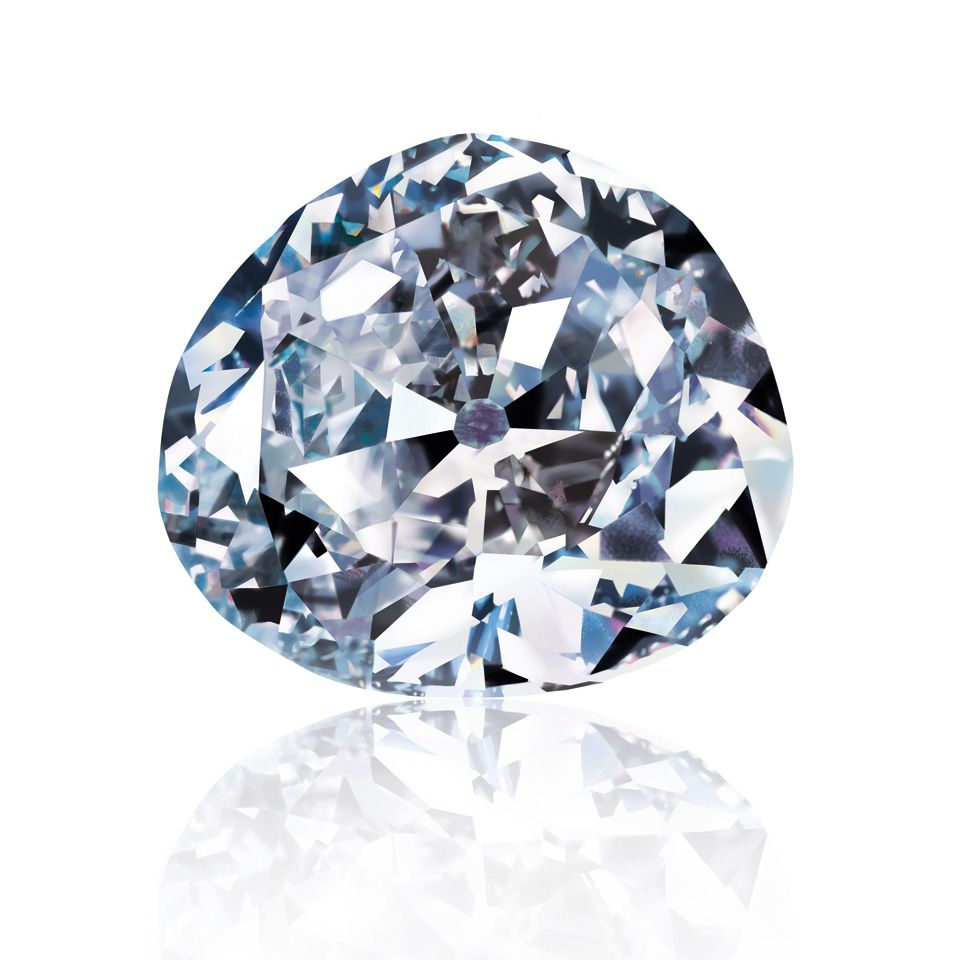 The Idol's Eye is a 70.20 ct Very Light blue diamond that has been  described as