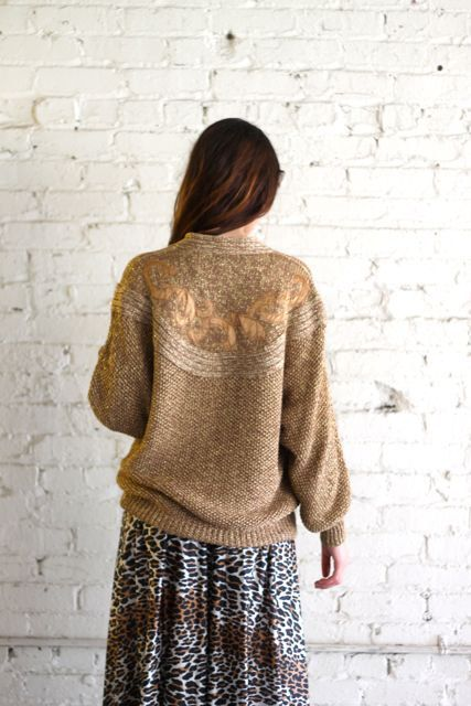 Vintage 80 s SLOUCH Dolman Sleeve GOLD Sweater Size by AsAvintage ... 9cb6263bc