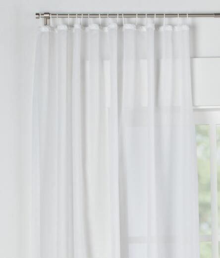 Cotton Voile Looped Tab Top Curtains Pair Final Sale No