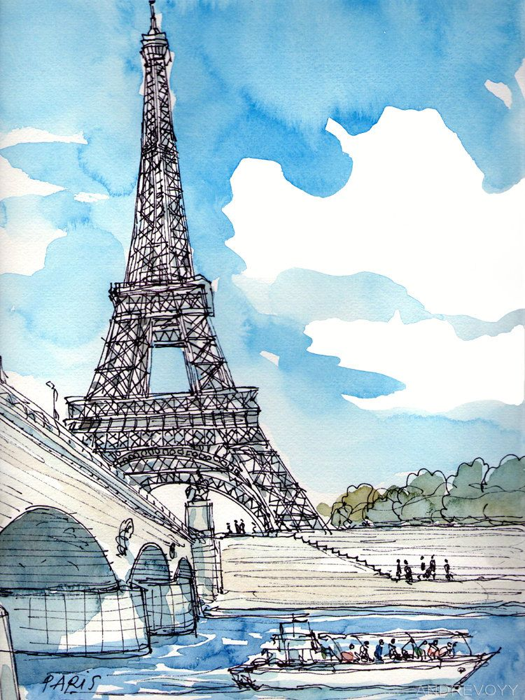 Paris Eiffel Tower France Art Print From An Original Watercolor