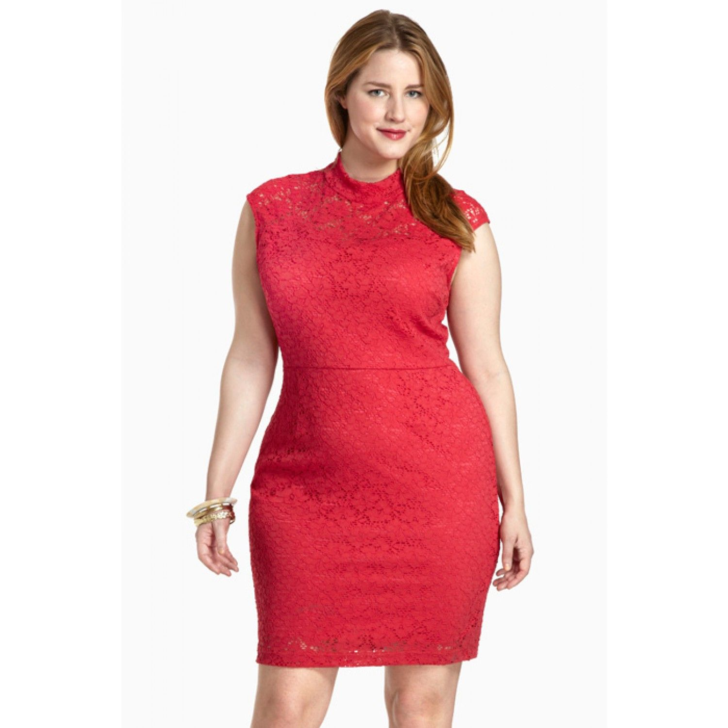 Knockout red lace sleeveless mockturtleneck dress fashiontofigure