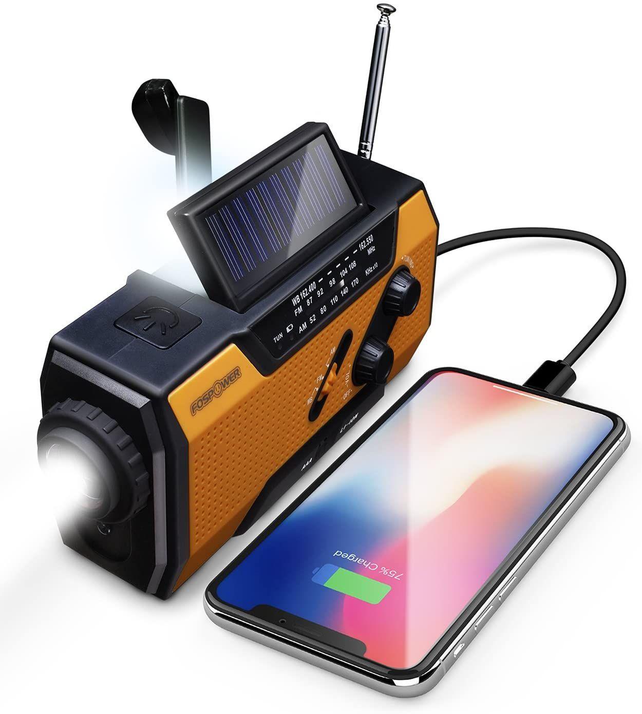 Radioemergency With Am Fm Led Flashlight Reading Lamp 2000mah Power Bank Usb Charger In 2020 Emergency Radio Noaa Weather Radio Weather Radio