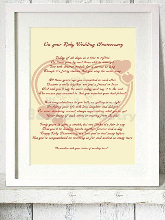 Ruby 40th Wedding Anniversary Personalised By Waxlyricalpoetry
