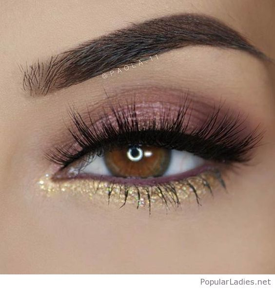 Nude and gold eye makeup