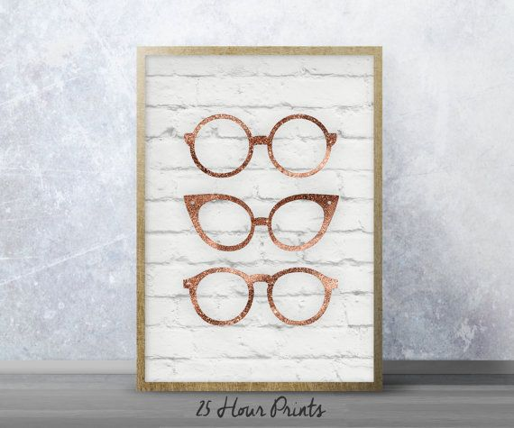 Instant Download Rose Gold Glasses Fashion Print - Art Print - Printable Art - Digital Prints - Abstract Art