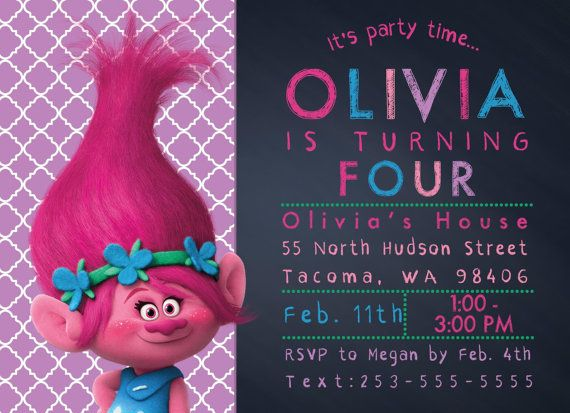 Trolls Movie Ticket Invitation - 5x7 How to Order 1 Choose - free ticket printing