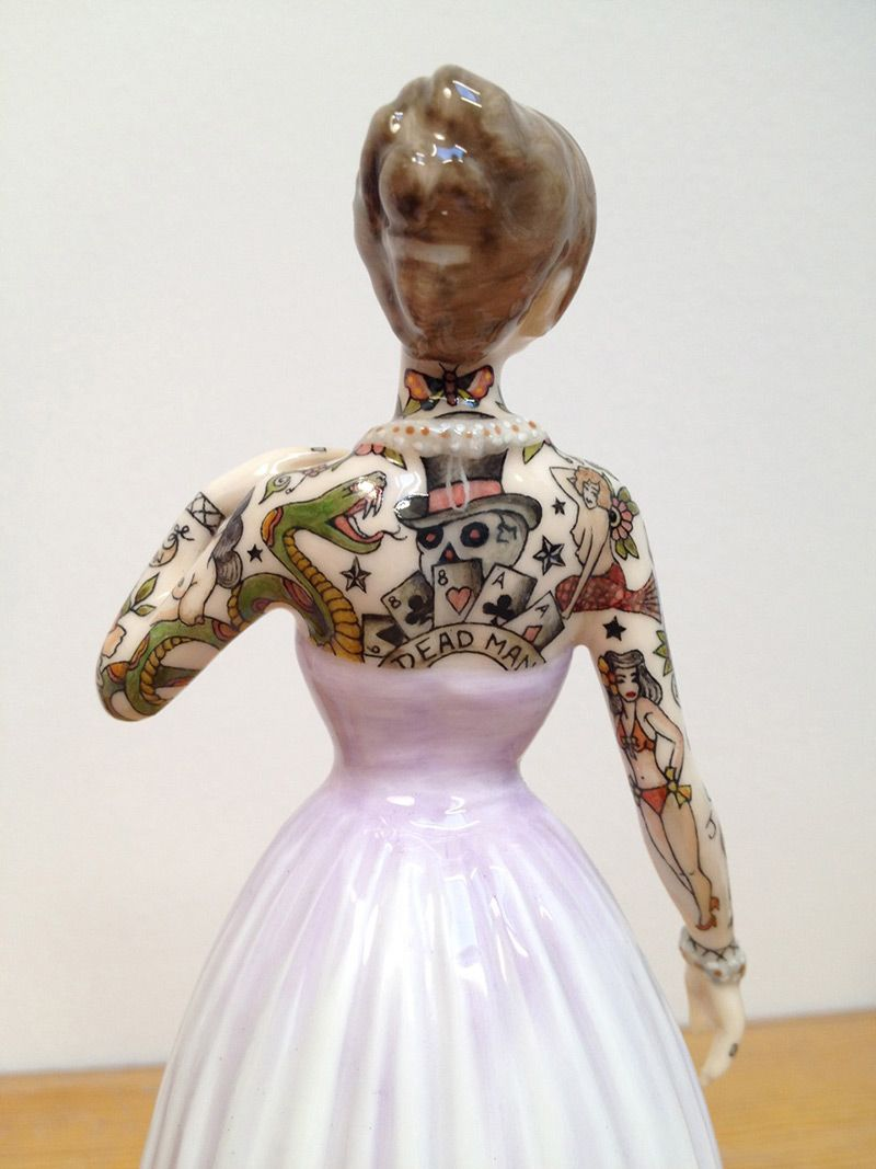 Tattooed Porcelain Figures by Jessica Harrison tattoos sculpture porcelain