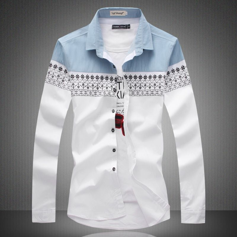 Big Size New 2016 Mens Shirt Slim Fit Fashion Long Sleeve Casual ...