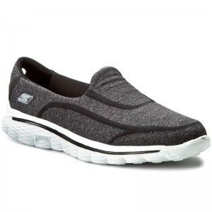 Cipők SKECHERS - Go Walk Sock Black White  947ba17872