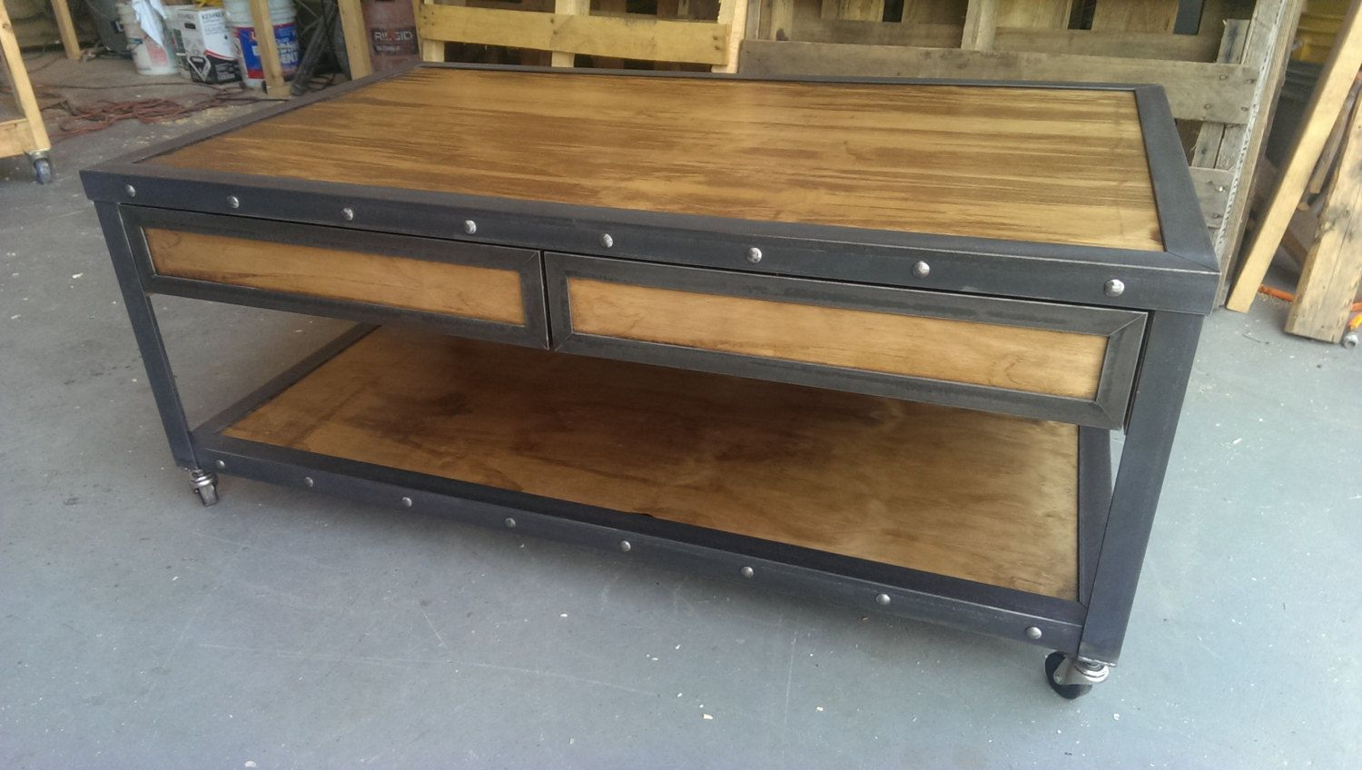 industrial furniture style. Industrial Coffee Table With Drawers #019 \u2022 Style Furniture By Evolution Co. L