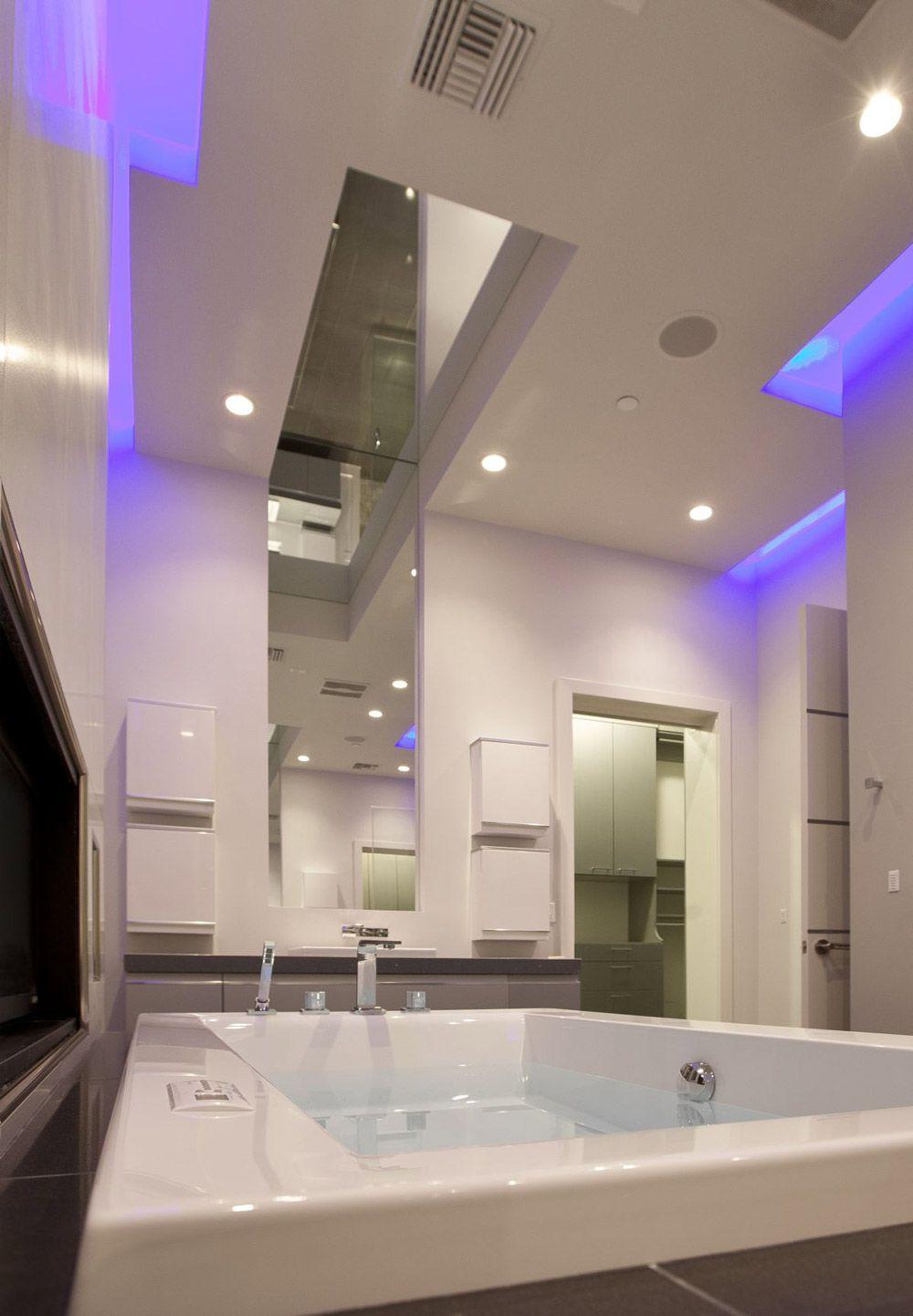 Bathroom, Large Mirror, Blue LED Lighting, Hurtado Residence in Las ...