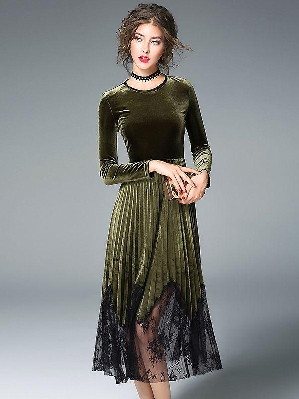 c86cef60ac Elegant Velvet Splicing Mesh Long Sleeve Skater Dress from DressSure.com   dresssure  fashion  dresses  HighQuality