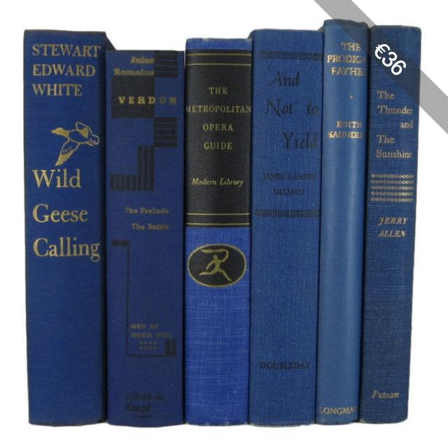 Blue Books Home Decor, Blue Vintage Books, Old Books, Book Sets, Wedding Decor, Book Lover Gift, Book Stack, Book Collection