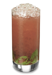 Strawberry Mojito (1 Part Pucker Strawberry Schnapps 1 Part Cruzan Light Rum 1/2 Part Simple Syrup 1/2 Part Lime Juice 1 Part Soda Water 14 Sprigs of Mint)