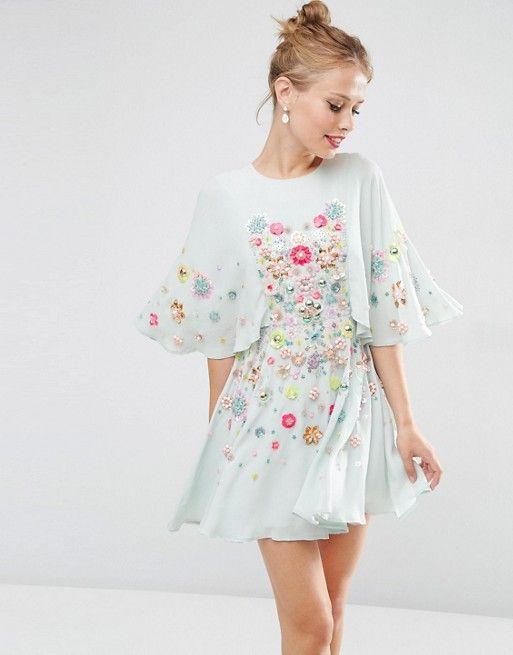 ASOS | ASOS SALON 3D Floral Embellished Cape Mini Skater Dress ...