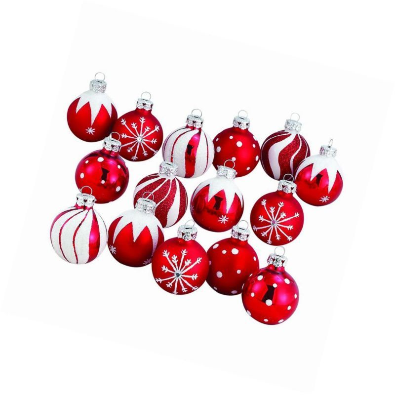 Kurt Adler 1.57-Inch Red/White Decorated Glass Ball Ornament set of 15 in Home & Garden, Holiday & Seasonal Décor, Christmas & Winter | eBay