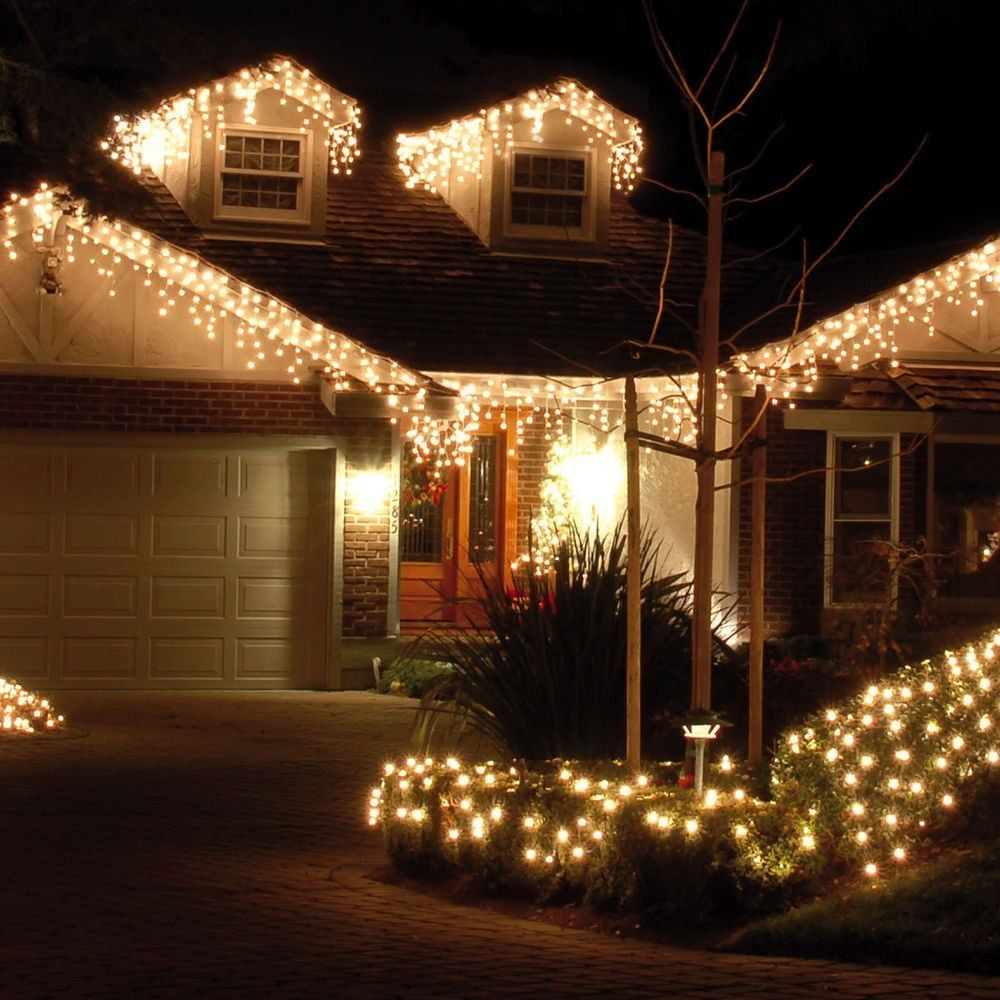 Christmasdecor Jefferson Led Icicle Lights Warm White Patio Fairy String Outdoor Christmas Holiday Curtains