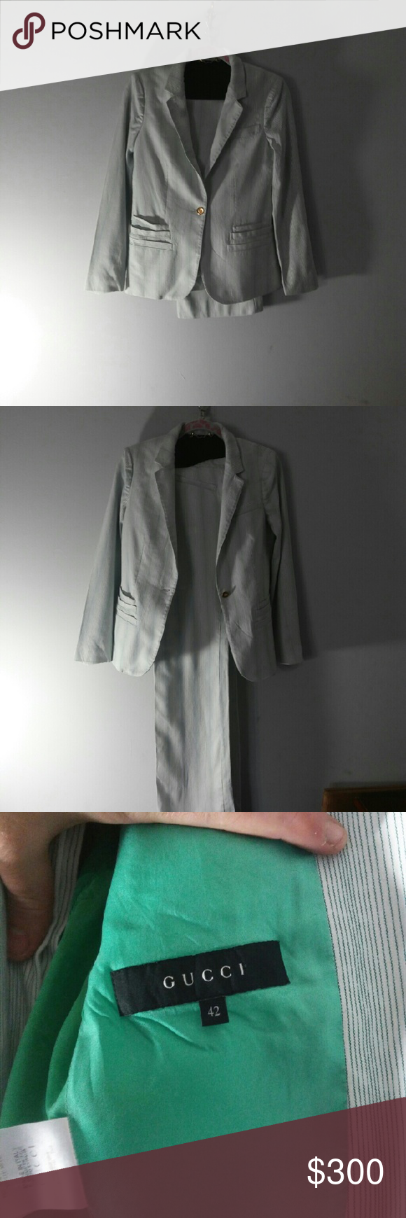 gucci 2 piece. gucci green and white 2 piece suit size 42 s
