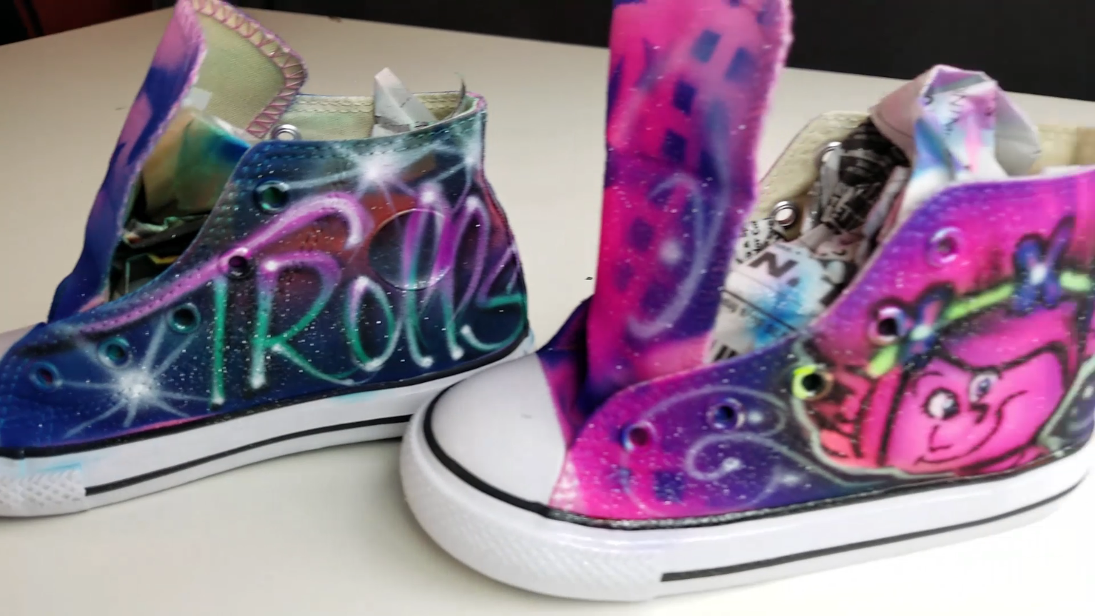 6ec3d37ef4e52 custom painted Converse hand painted and airbrushed with poppy troll ...
