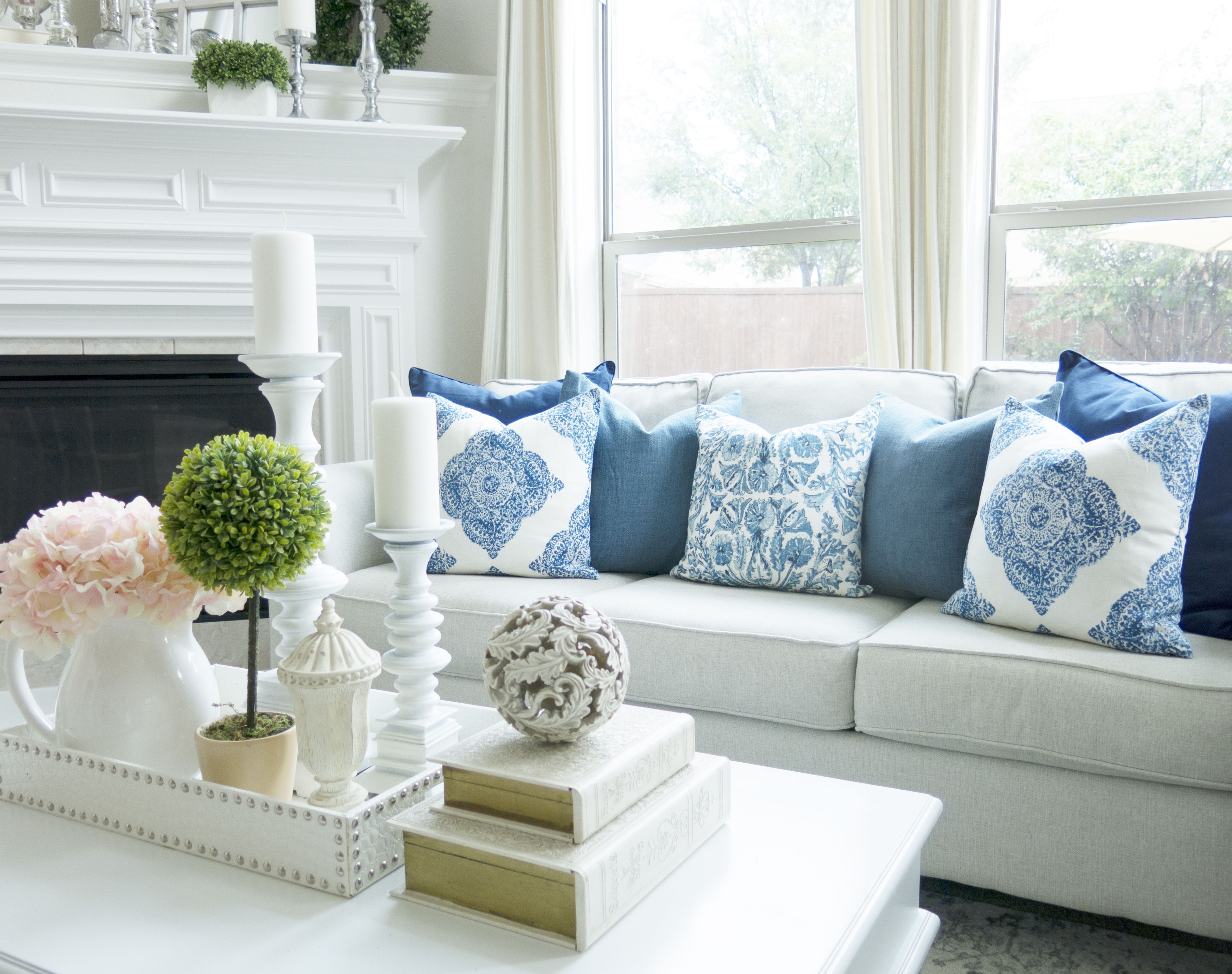 Livingroom Inspiration And Ideas Navy Blue Modern Farmhouse Look Magnolia Wreath And Topiaries By Hamptons Style Living Room Living Room Grey Living Room