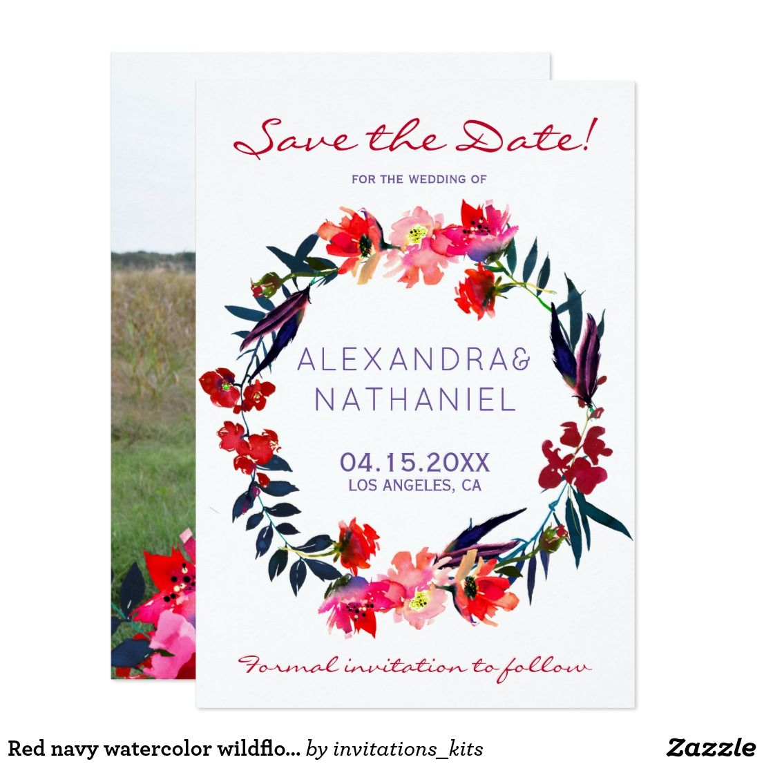red navy watercolor wildflowers save date wedding save the date in