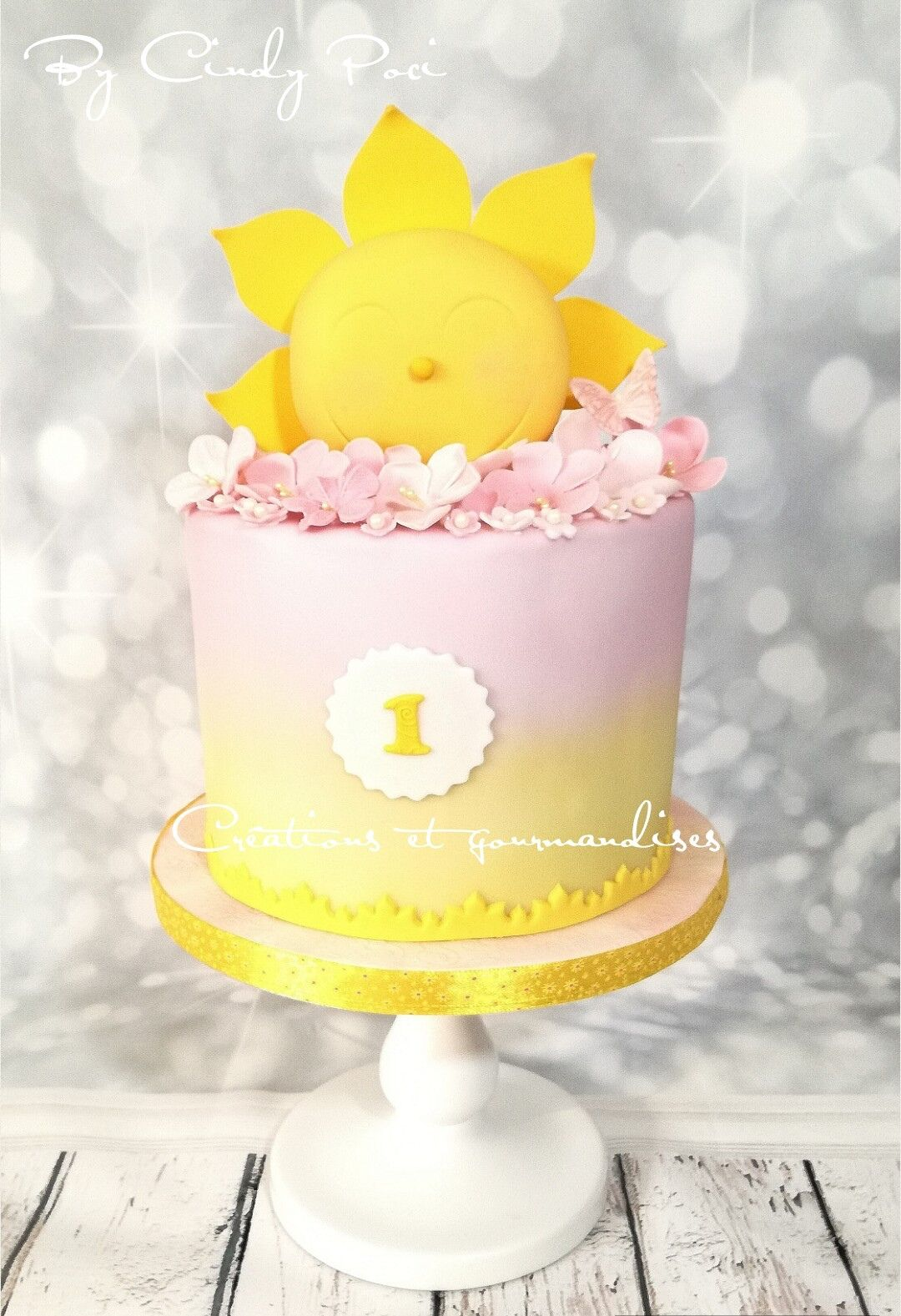 first birthday sun and flowers fondant pretty girl