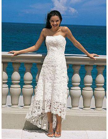 Elegant Empire Strapless Tea Length Petite Lace Beach Wedding ...