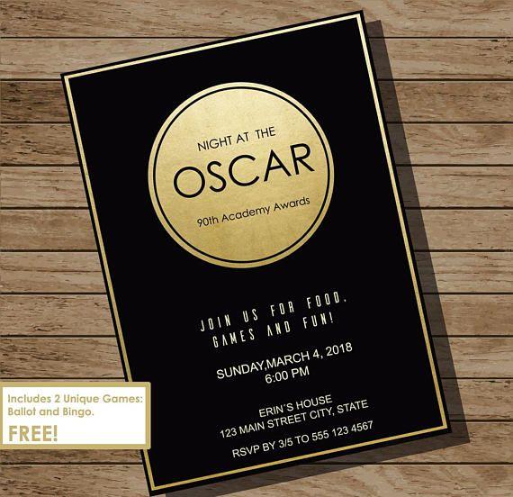 Oscar Party Invitation 2018 Oscar Invitation Academy Awards Party