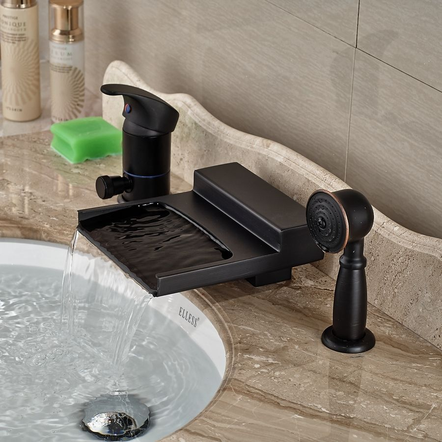 Oil Rubbed Bronze Waterfall Spout Bathroom Basin And Tub Faucet