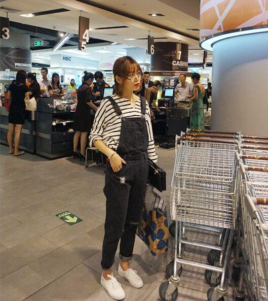 Outono jeans macacão para mulheres calças jeans femininas calças alcinhas denim macacão em Jeans de Roupas e Acessórios no AliExpress.com | Alibaba Group