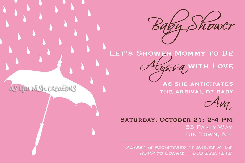 Baby Shower Invitation Umbrella Rain - Umbrella Baby Shower Invite ...