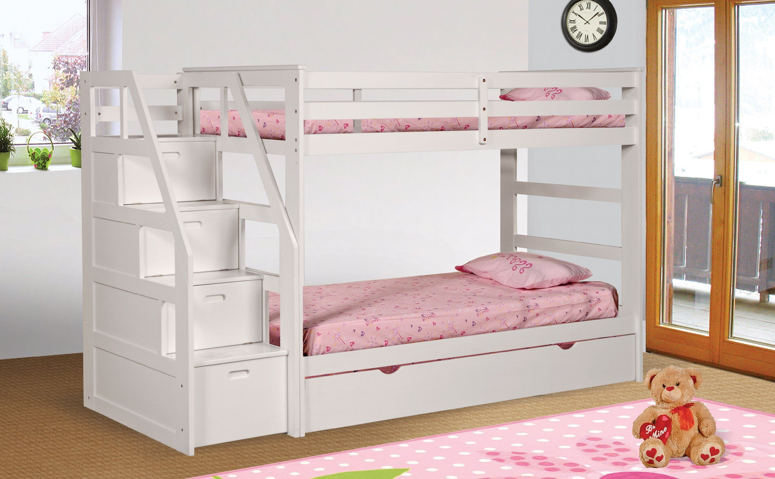 Twin Twin Bunk Bed With Twin Trundle Drawer Steps White Finish In