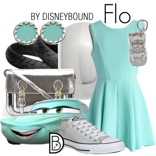 Flo from Cars by leslieakay on Polyvore featuring Chicwish, Converse, Steve Madden, Express, La Preciosa and House of Harlow 1960