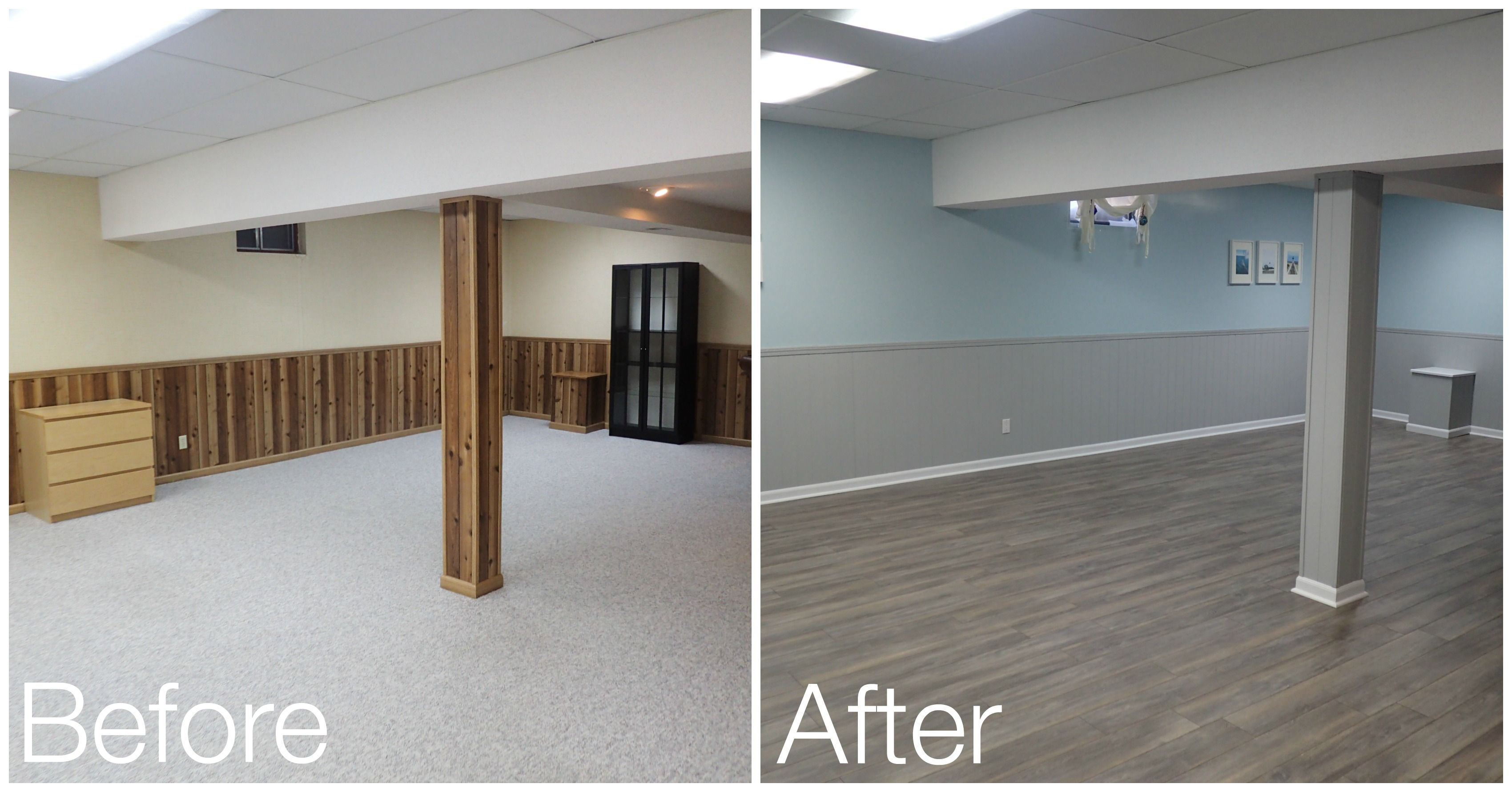 Basement Reveal Wood Paneling Makeover Paneling Makeover