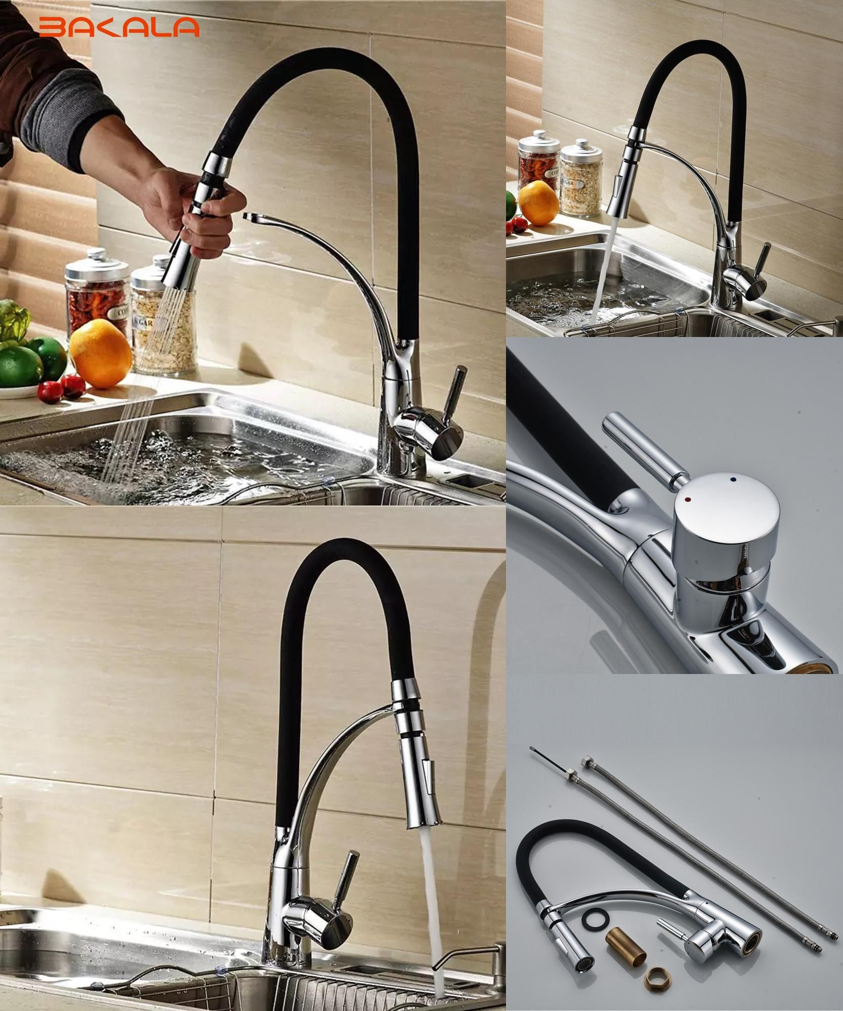 Visit To Bakala Black And Chrome Finish Kitchen Sink Faucet Deck Mount Pull