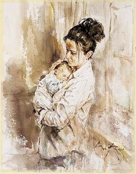 A Mother S Love Watercolor Mother And Child Painting Popular