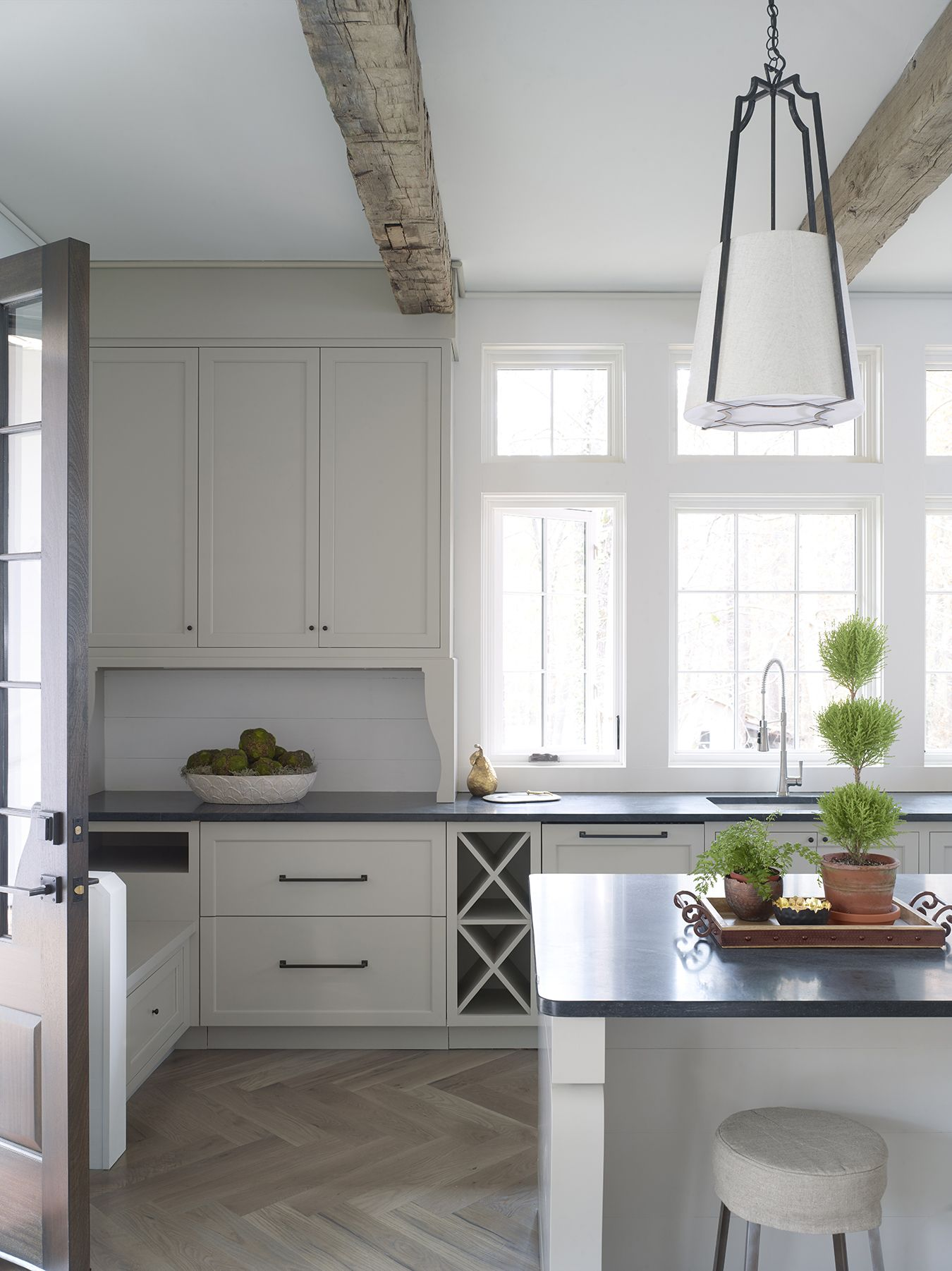 pool house kitchen. Christopher Architecture \u0026 Interiors - Pool House Kitchen Gray Cabinets Ceiling Cross Ties