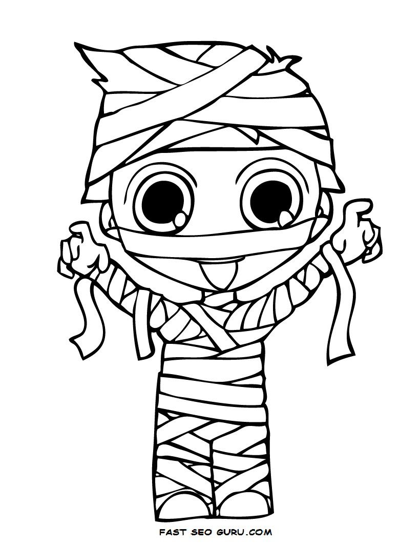 Print Out Halloween Kid Mummy Coloring Page Jpg 820 1 060 Pixels