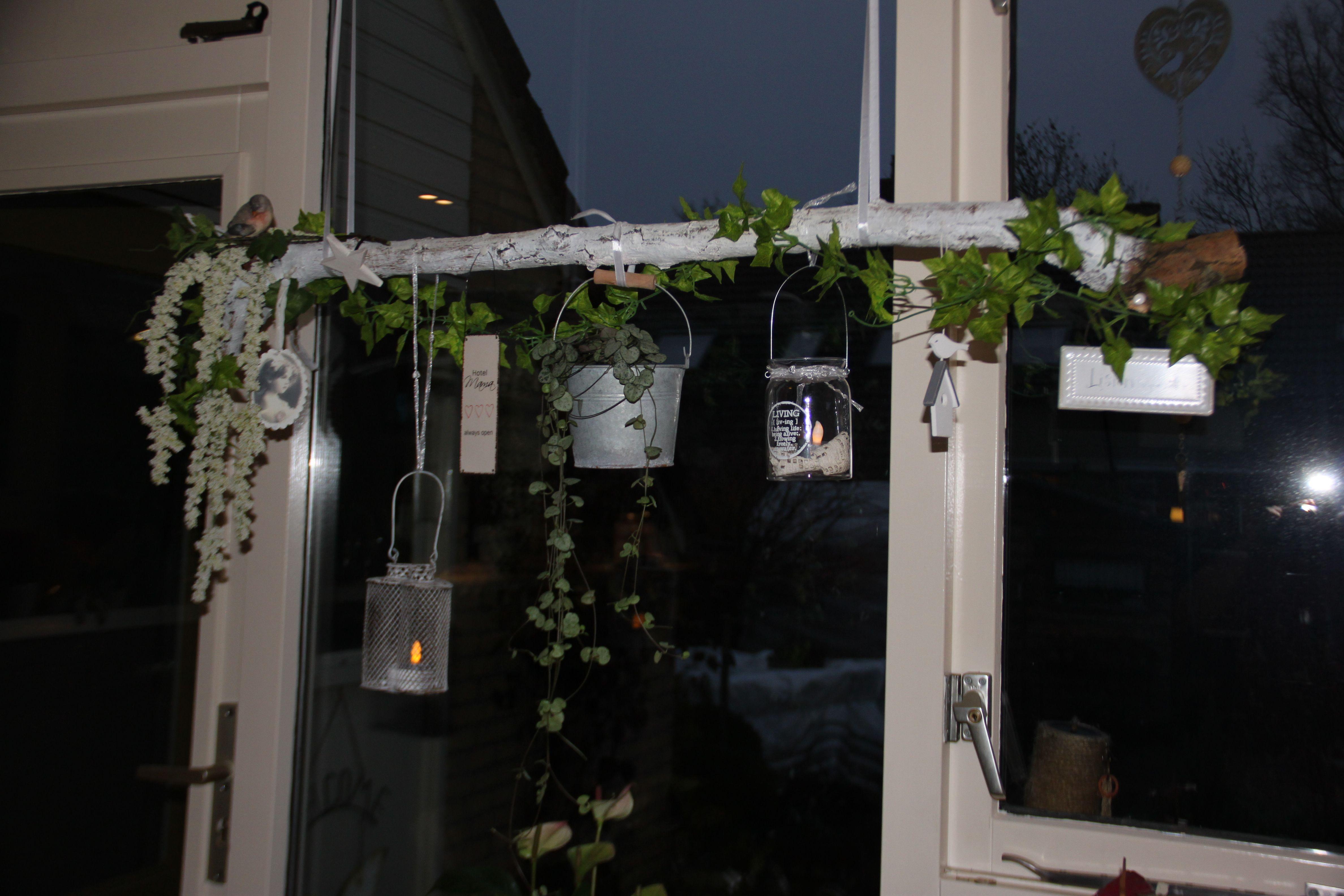 De Tak Voor Het Raam Een Omgevallen Tak Van De Grote Boom Bij De Sloot Huis Decoraties Raamdecoratie Ramen