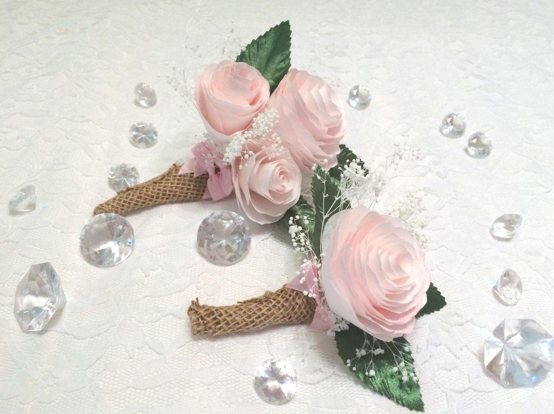 Paper Peony Boutonniere Burlap Wrapped Boutonniere Lapel Flower