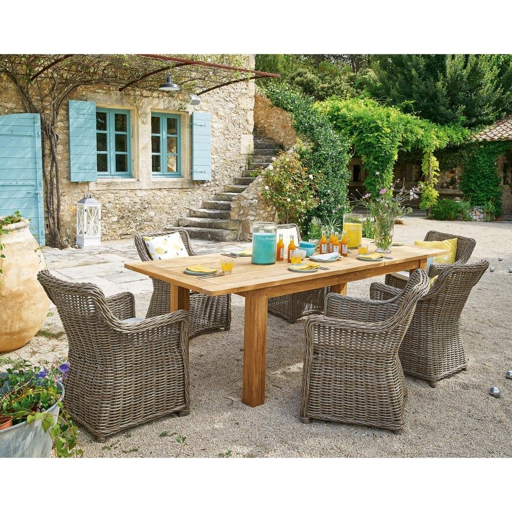 Tavolo allungabile da giardino in tek riciclato 200cm ...