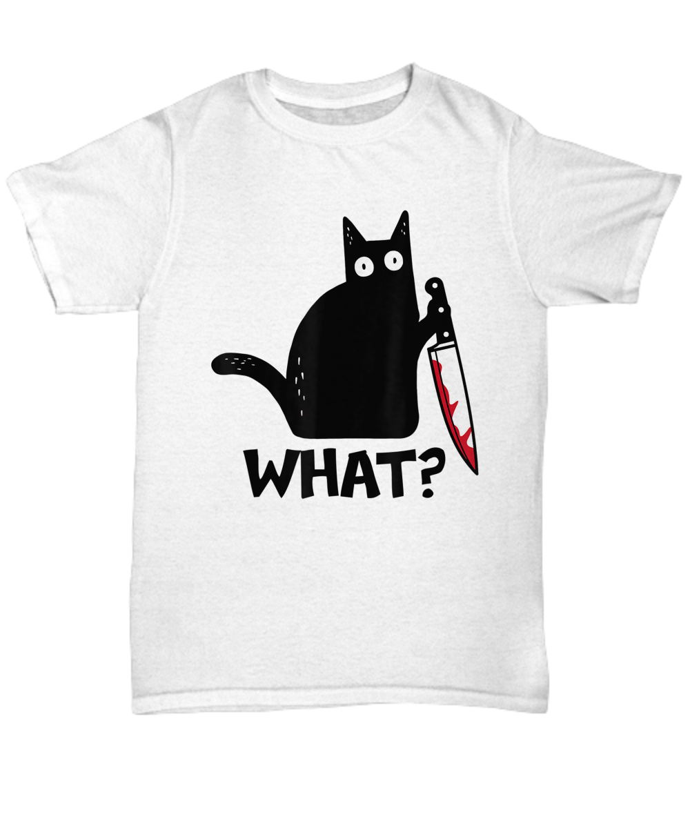 What Cat Holding Knife Funny Cat Lover T Shirt
